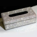 Top grade Diamond Car Tissue Paper Box Case Creative Crystal For Office Home Decor - White
