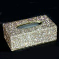 Top grade Full Crystal Auto Tissue Paper Box Case Creative For Car Office Home Decor L Size - Gold