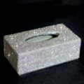 Top grade Full Crystal Auto Tissue Paper Box Case Creative For Car Office Home Decor - White