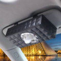 Top grade Leather Hanging Car Tissue Paper Box Holder Case Sun Visor Tissue Bag - Black