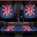 UK British Flag Leather Car Seat Cushion Front and Rear Universal Auto Pads 3pcs Set - Blue