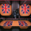 UK British Flag Leather Car Seat Cushion Front and Rear Universal Auto Pads 3pcs Set - Brown