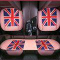 UK British Flag Leather Car Seat Cushion Front and Rear Universal Auto Pads 3pcs Set - Pink