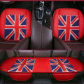 UK British Flag Leather Car Seat Cushion Front and Rear Universal Auto Pads 3pcs Set - Red
