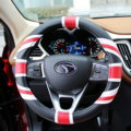 UK British Flag Print Leather Car Steering Wheel Covers PVC 15 inch 38CM - Black Red