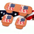 U.S.A Flag Leather Car Seat Cushion Front and Rear Universal Auto Pads 3pcs Set - Brown