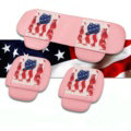 U.S.A Flag Leather Car Seat Cushion Front and Rear Universal Auto Pads 3pcs Set - Pink