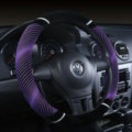 Unique Winter Stripe Glitter Velvet Car Steering Wheel Covers Plush 15 inch 38CM - Purple