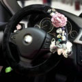Vintage Women Crystal Flowers Car Steering Wheel Covers Plush 15 inch 38CM - Black