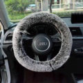 Winter Imitation Rex Rabbit Fur Car Steering Wheel Covers Soft Plush 15 inch 38CM - Black