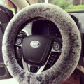 Winter Imitation Rex Rabbit Fur Car Steering Wheel Covers Soft Plush 15 inch 38CM - Gray