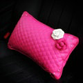 Women Flower Rhinestone Car Seat Waist Pillows PU Leather Lumbar Cushion 1pcs - Rose