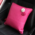 Women Flower Rhinestone Car Seat Waist Pillows PU Leather Square Cushion 1pcs - Rose