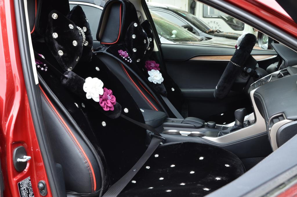buy wholesale 2pcs flower car safety seat belt covers plush shoulder pads auto interior. Black Bedroom Furniture Sets. Home Design Ideas