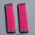 High Quality 2pcs Crystal Car Safety Seat Belt Covers Plush Shoulder Pads Auto Interior Decro - Rose