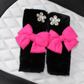New 2pcs Bowknot Car Safety Seat Belt Covers Plush Shoulder Pads Auto Interior - Rose