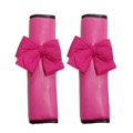 New 2pcs Bowknot Car Safety Seat Belt Covers Women Leather Shoulder Pads - Rose