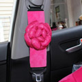 New 2pcs Camellia Car Safety Seat Belt Covers Plush Shoulder Pads Auto Interior - Rose