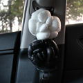 New 2pcs Camellia Flower Car Safety Seat Belt Covers Women Leather Shoulder Pads - Black White