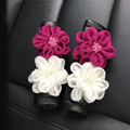 New 2pcs Flower Car Safety Seat Belt Covers Leather Shoulder Pads Auto Interior Accessories - Black