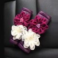 New 2pcs Flower Car Safety Seat Belt Covers Leather Shoulder Pads Auto Interior Accessories - Purple