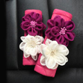 New 2pcs Flower Car Safety Seat Belt Covers Leather Shoulder Pads Auto Interior Accessories - Rose