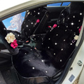Top Crystals Plush Car Seat Cushion for Women Winter Universal Flower Covers 10pcs Sets - Black
