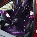 Top Crystals Plush Car Seat Cushion for Women Winter Universal Flower Covers 10pcs Sets - Purple