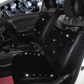 Top Crystals Plush Car Seat Cushion for Women Winter Universal Lace Covers 10pcs Sets - Black