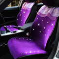 Top Crystals Plush Car Seat Cushion for Women Winter Universal Lace Covers 10pcs Sets - Purple
