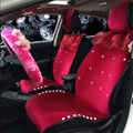 Top Crystals Plush Car Seat Cushion for Women Winter Universal Lace Covers 10pcs Sets - Red