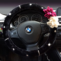 Top Crytsal Plush Car Steering Wheel Covers Pearl Flower for Women 15 inch 38CM - Black