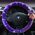Top Crytsal Plush Car Steering Wheel Covers Pearl Flower for Women 15 inch 38CM - Purple