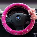 Top Crytsal Plush Car Steering Wheel Covers Pearl Flower for Women 15 inch 38CM - Rose