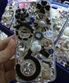 Bling S-warovski crystal cases Flowers 5 diamond cover for iPhone 7S - Black