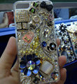 Bling S-warovski crystal cases Flowers diamond cover for iPhone 7S - Navy blue