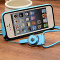 Fashion Lanyard Plastic Shell Hard Covers Back Cases Skin for iPhone 7S - Blue