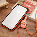 Fashion Lanyard Plastic Shell Hard Covers Back Cases Skin for iPhone 7S - Orange