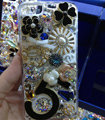 S-warovski crystal cases Bling Flowers diamond cover for iPhone 7S - Black