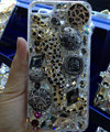 S-warovski crystal cases Bling Leopard diamond cover for iPhone 7S - Black