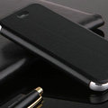 Classic Aluminum Bracket Holster Genuine Flip Leather Cases for iPhone 8 Plus - Black