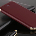 Classic Aluminum Bracket Holster Genuine Flip Leather Cases for iPhone 8 Plus - Claret