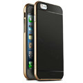 Classic Metal Bumper Frame Covers Genuine Leather Back Cases for iPhone 8 Plus - Gold