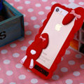 Cool Detonation Teeth Rabbit Covers Silicone Shell for iPhone 8 Plus - Red