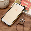 Fashion Lanyard Plastic Shell Hard Covers Back Cases Skin for iPhone 8 Plus - Gold