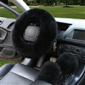 3pcs sets Winter Long Australian Wool Heated Fur Car Steering Wheel Handbrake Gear Shifter Cover - Black
