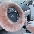 3pcs sets Winter Long Australian Wool Heated Fur Car Steering Wheel Handbrake Gear Shifter Cover - Camel