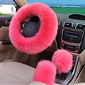 3pcs sets Winter Long Australian Wool Heated Fur Car Steering Wheel Handbrake Gear Shifter Cover - Pink