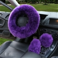 3pcs sets Winter Long Australian Wool Heated Fur Car Steering Wheel Handbrake Gear Shifter Cover - Purple