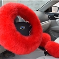 3pcs sets Winter Long Australian Wool Heated Fur Car Steering Wheel Handbrake Gear Shifter Cover - Red